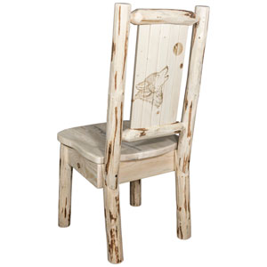Montana Side Chair with Laser Engraved Wolf Design, Clear Lacquer Finish