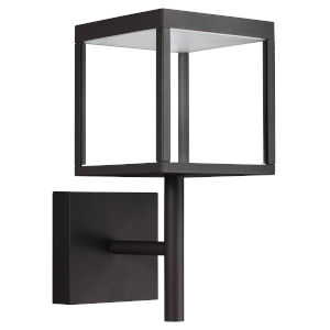 Reveal Black 7-Inch Led Outdoor Square Wall Sconce With Clear Glass