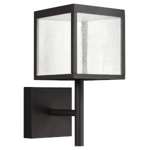 Reveal Black 7-Inch Led Outdoor Square Wall Sconce With Seeded Glass