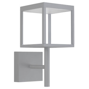 Reveal Satin Gray 7-Inch Led Outdoor Square Wall Sconce With Clear Glass