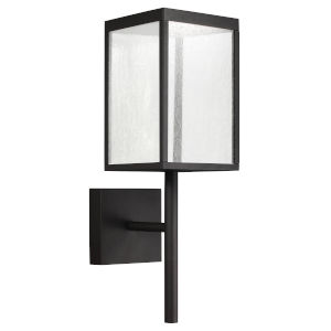 Reveal Black 7-Inch Led Outdoor Rectangular Wall Sconce With Seeded Glass