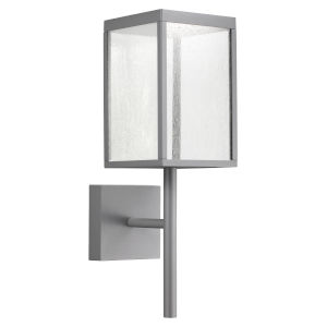 Reveal Satin Gray 7-Inch Led Outdoor Rectangular Wall Sconce With Seeded Glass