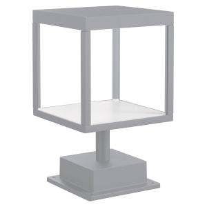 Reveal Satin Gray 7-Inch Led Outdoor Square Pier Mount With Clear Glass