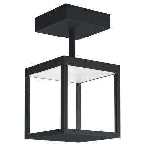 Reveal Black 7-Inch Led Outdoor Square Semi Flush Mount With Clear Glass