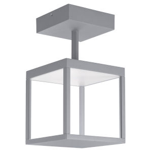 Reveal Satin Gray 7-Inch Led Outdoor Square Semi Flush Mount With Clear Glass