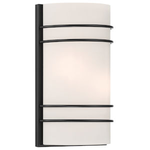Artemis Matte Black Two-Light Wall Sconce with Opal Glass