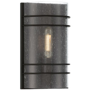 Artemis Matte Black Two-Light Wall Sconce with Seeded Glass