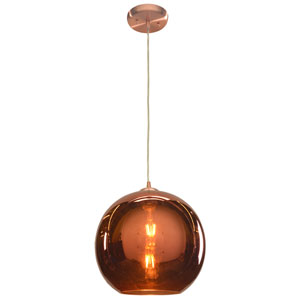 Glow 12-Inch Brushed Copper One-Light LED Pendant