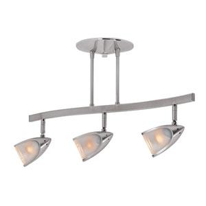 Comet Brushed Steel Three-Light LED Track Light