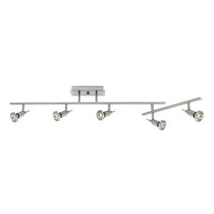 Viper Brushed Steel Five-Light LED Track Light