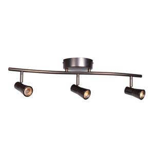 Sleek 26-Inch Bronze Three-Light LED Flush Mount Track Light