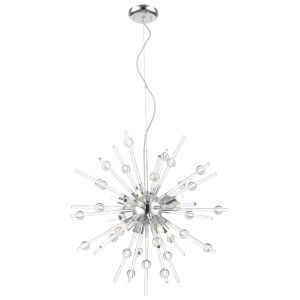 Burst Chrome Eight-Light Led Pendant