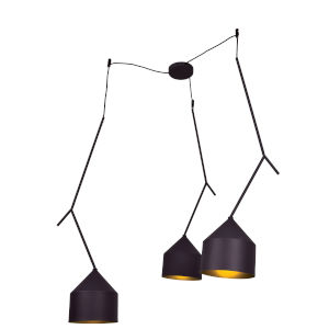 Pizzazz Black and Gold Three-Light LED Pendant
