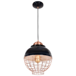 Dive Shiny Black and Copper 12-Inch LED Pendant