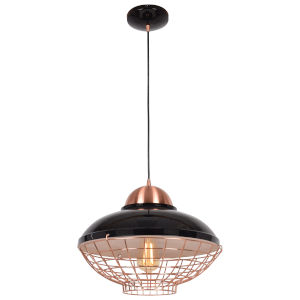 Dive Shiny Black and Copper 15-Inch LED Pendant
