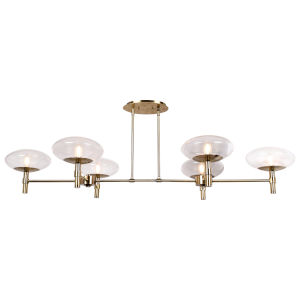 Grand Brushed Brass Six-Light LED Chandelier