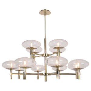 Grand Brushed Brass Twelve-Light LED Chandelier
