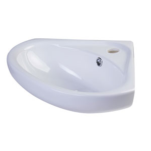 18-inch White Corner Porcelain Wall Mounted Bath Sink