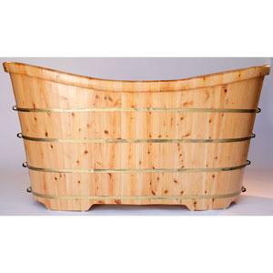 63-inch Free Standing Cedar Wood Bath Tub