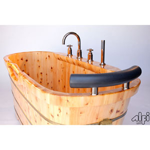 61-inch Free Standing Cedar Wood Bath Tub with Chrome Tub Filler