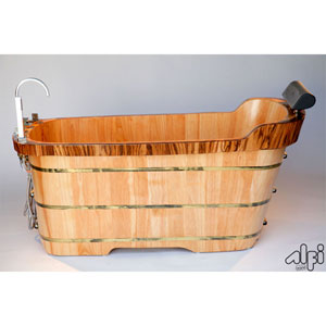 59-inch Free Standing Wood Bath Tub with Chrome Tub Filler