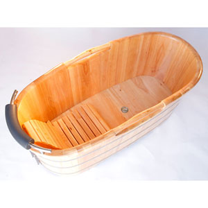 61-inch Free Standing Wood Bath with Cushion Headrest