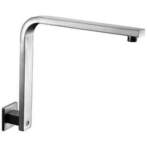 Brushed Nickel 12-inch Square Raised Wall Mounted Shower Arm
