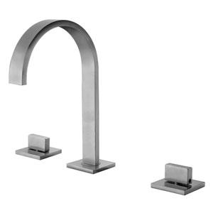 Brushed Nickel Gooseneck Widespread Bathroom Faucet