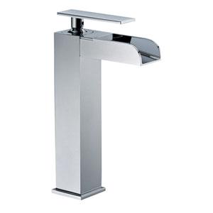 Polished Chrome Single Hole Tall Waterfall Bathroom Faucet