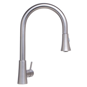 Solid Brushed Stainless Steel Pull Down Single Hole Kitchen Faucet