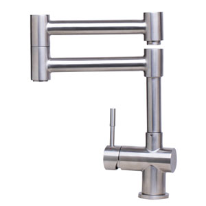Solid Brushed Stainless Steel Retractable Single Hole Kitchen Faucet