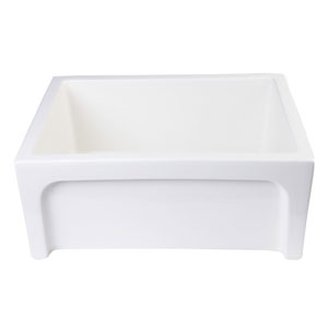 24-inch Biscuit Arched Apron Thick Wall Fireclay Single Bowl Farm Sink