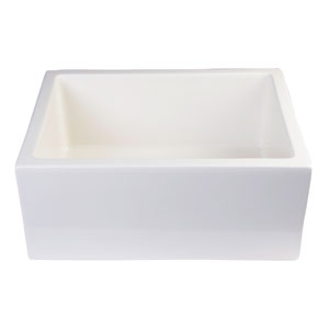 24-inch Biscuit Smooth Thick Wall Fireclay Single Bowl Farm Sink