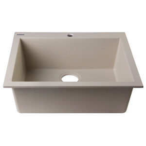 Biscuit 24-inch Drop-In Single Bowl Granite Composite Kitchen Sink