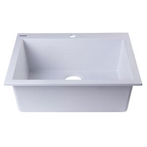 White 24-inch Drop-In Single Bowl Granite Composite Kitchen Sink