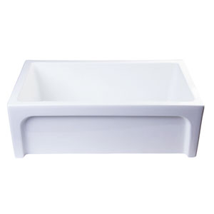 30-inch White Arched Apron Thick Wall Fireclay Single Bowl Farm Sink