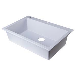 White 30-inch Drop-In Single Bowl Granite Composite Kitchen Sink