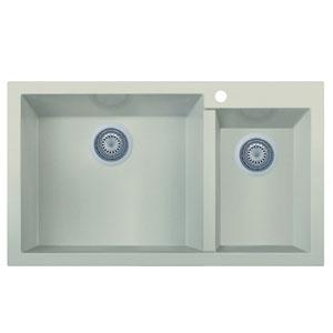 Biscuit 34-inch Double Bowl Drop In Granite Composite Kitchen Sink