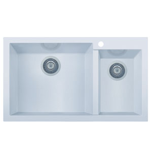 White 34-inch Double Bowl Drop In Granite Composite Kitchen Sink