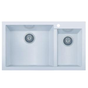 White 34-inch Double Bowl Drop In Granite Composite Kitchen Sink
