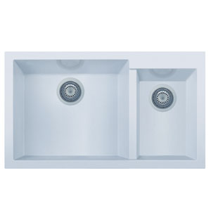 White 34-inch Double Bowl Undermount Granite Composite Kitchen Sink