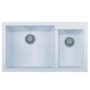 White 34-inch Double Bowl Undermount Granite Composite Kitchen Sink