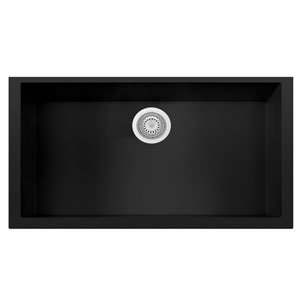 Black 33-inch Single Bowl Undermount Granite Composite Kitchen Sink
