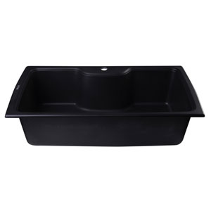 Black 35-inch Drop-In Single Bowl Granite Composite Kitchen Sink
