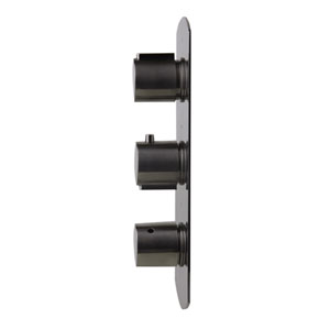 Brushed Nickel Concealed 4-Way Thermostatic Valve Shower Mixer with Round Knobs