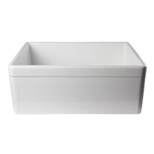 White 26-inch Decorative Lip Apron Single Bowl Fireclay Farmhouse Kitchen Sink