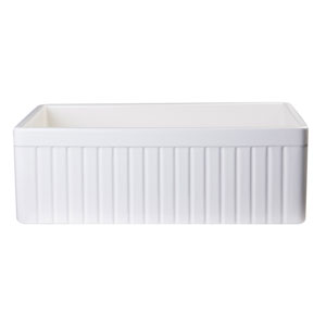 Biscuit 30-inch Fluted Apron Single Bowl Fireclay Farmhouse Kitchen Sink
