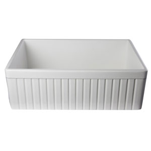White 30-inch Fluted Apron Single Bowl Fireclay Farmhouse Kitchen Sink