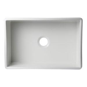 White 30-inch Decorative Lip Apron Single Bowl Fireclay Farmhouse Kitchen Sink