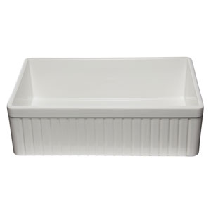 33-inch White Single Bowl Fluted Apron Fireclay Farm Sink